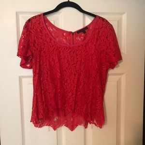 Urban outfitters red lace top
